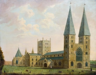 Southwell Minster from the North West, circa 1780; by John Frost.