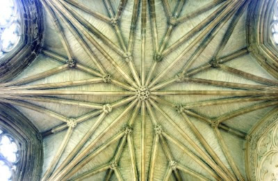 With no central supporting column, the star shape of the roof of The Chapter House can be fully appreciated.
